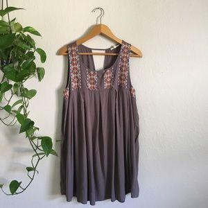 Easel Sleeveless Boho Babydoll Folk Dress